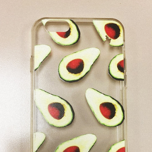 Avocado iPhone softcase on table