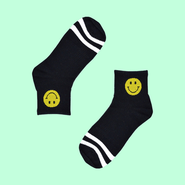 Smiley cotton socks black