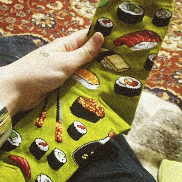 Sushi cotton socks in hand