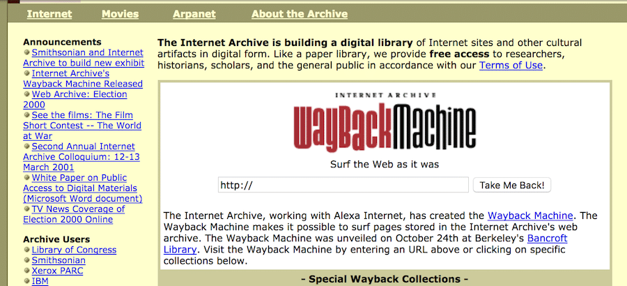 The Wayback Machine when it first launched