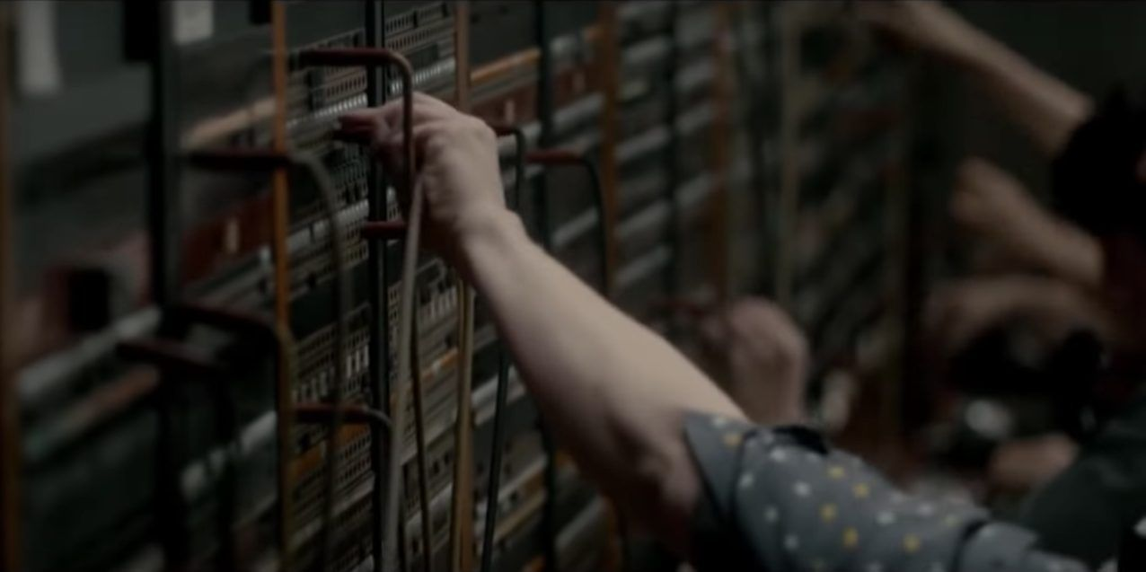Screen from scene in the Crown with switchboard operators