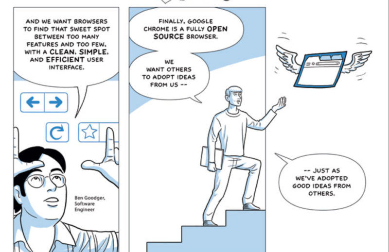 A few panels from the Google Chrome launch webcomic which describes the browser as both simple and open source