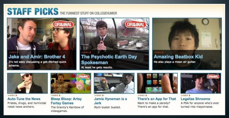 An early screenshot of the CollegeHumor videos page, with its typical list of videos to watch