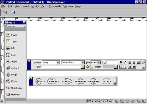 The Dreamweaver interface in 1997