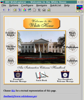 The White House homepage rendered on the IBM WebExplorer browser