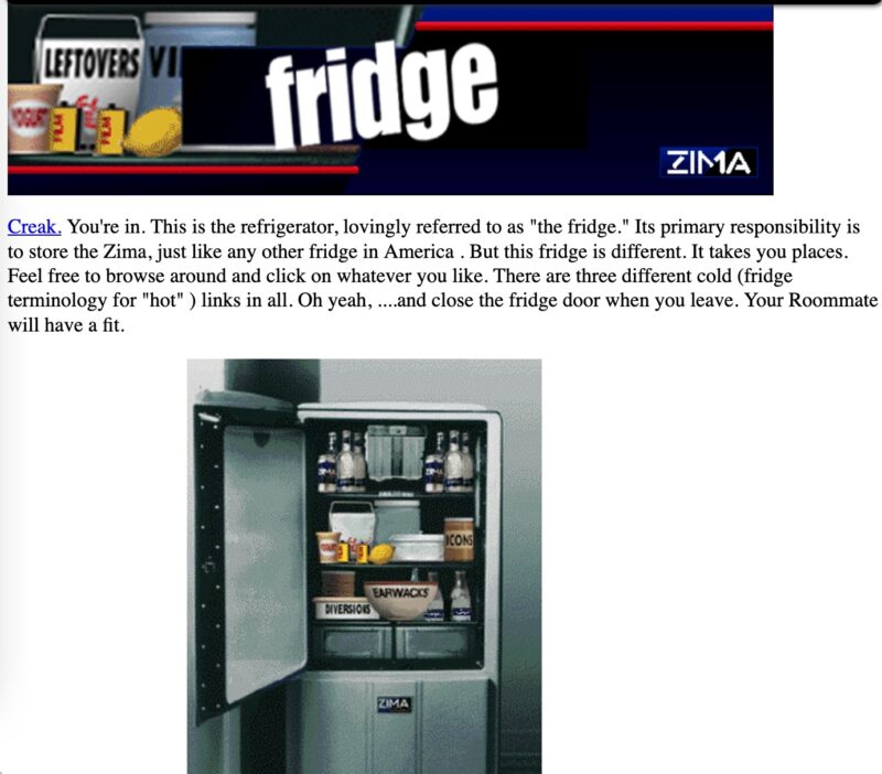 """What """"The Fridge"""" page looked like on the Zima site"""