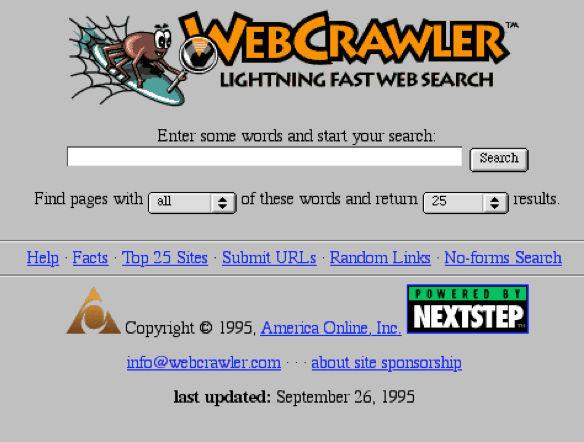 An early screenshot from WebCrawler's homepage, around 1995
