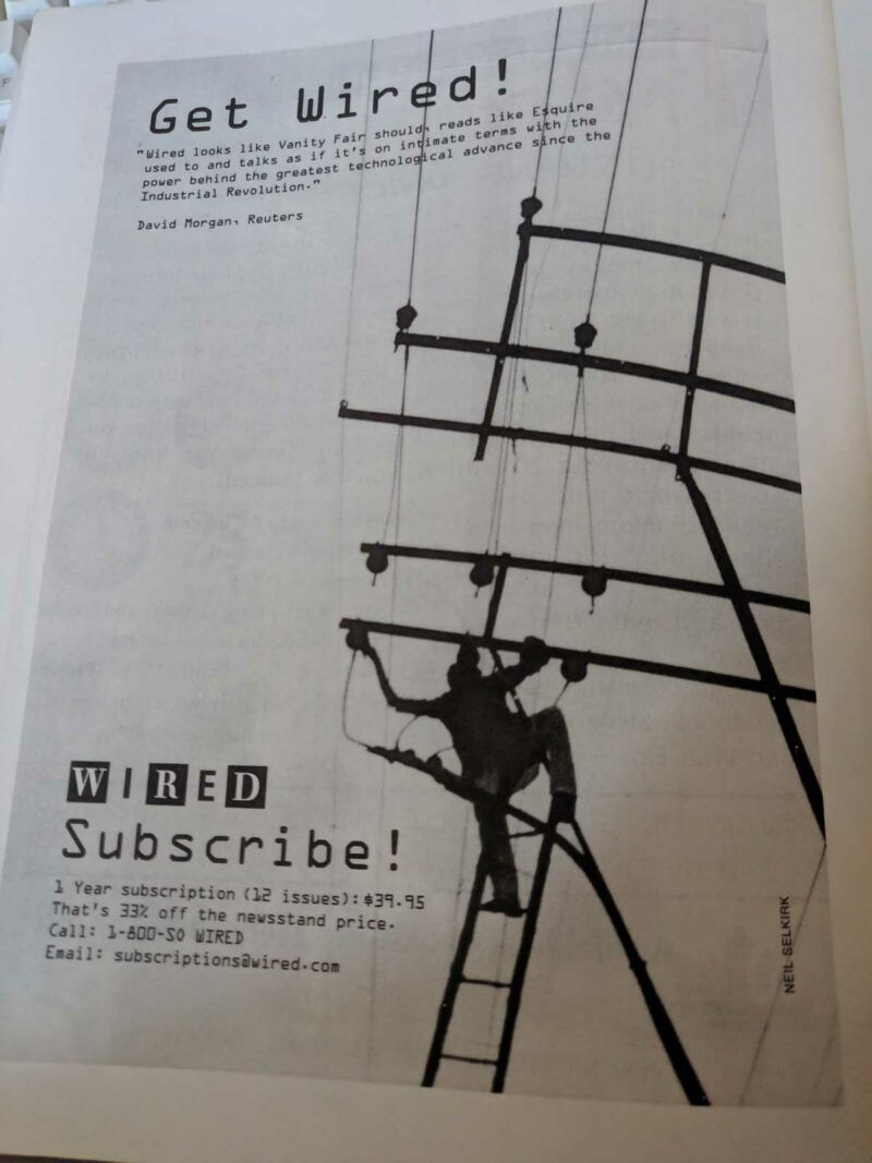 """A print ad for Wired magazine with a headline that reads """"Get Wired"""""""