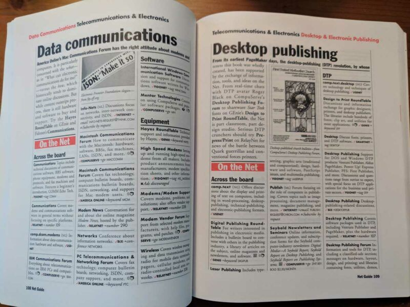 A two page spread from the Net Guide magazine, which includes details on Data communications and Desktop publishing