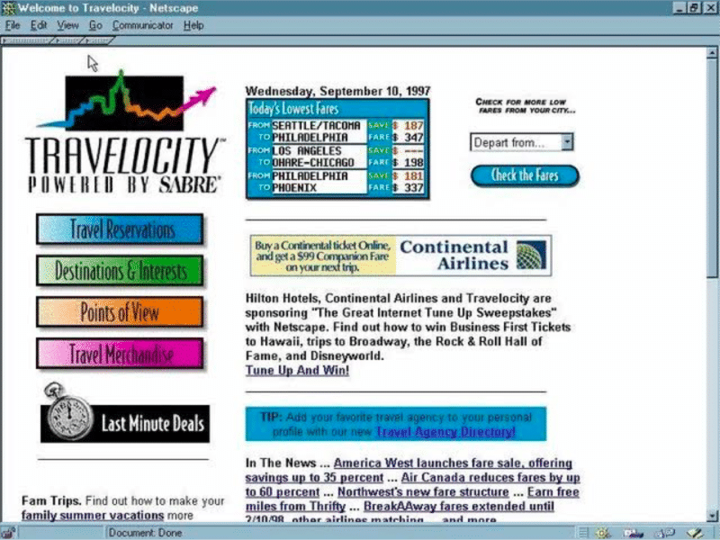 A screenshot of Travelocity from 1996, which indicates that the site is powered by Sabre and has links to check fares, book reservations, and enter sweepstakes for travel deals.