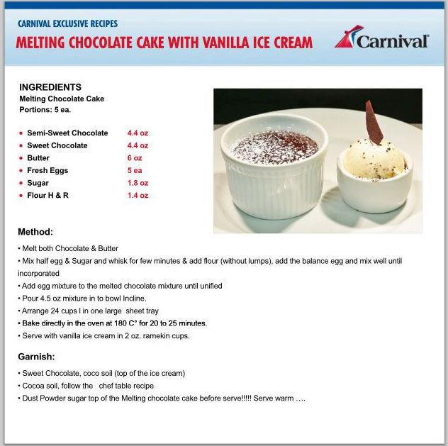 Carnival Molten Chocolate Cake Recipe