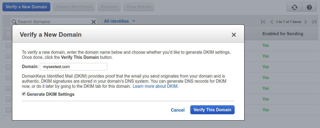SES Domain Verification