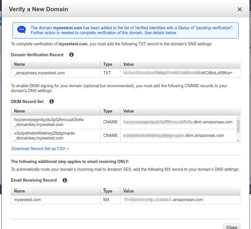 SES DNS Management