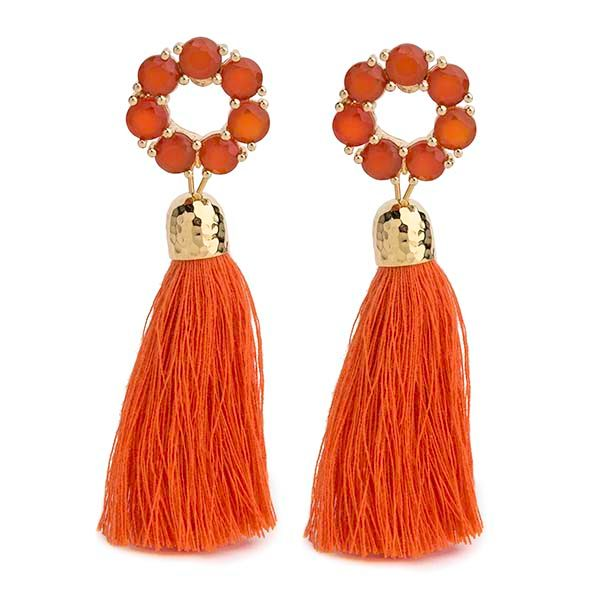 red onyx ella orange tassel in gold