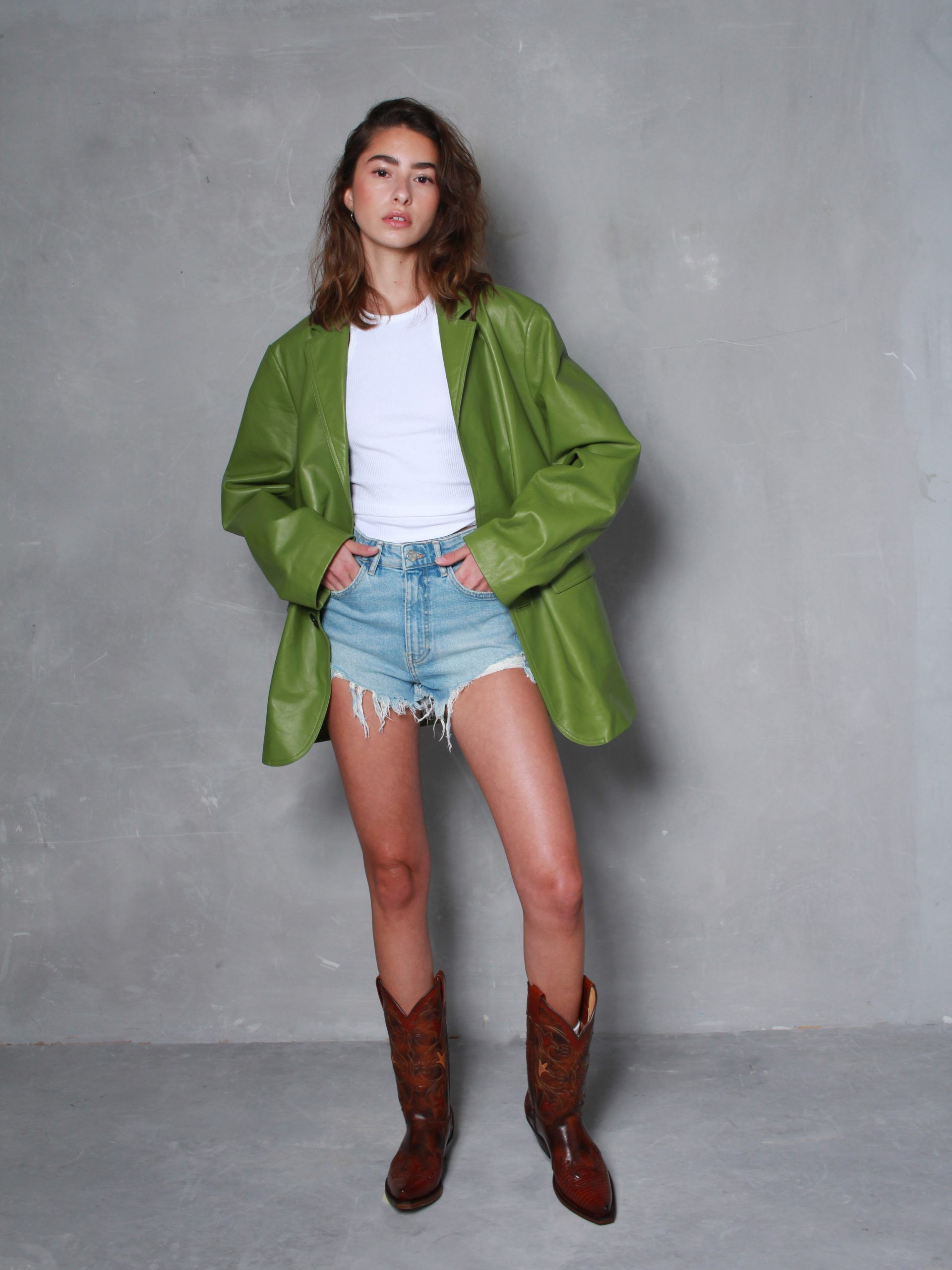 BESSON LEATHER BLAZER IN GREEN