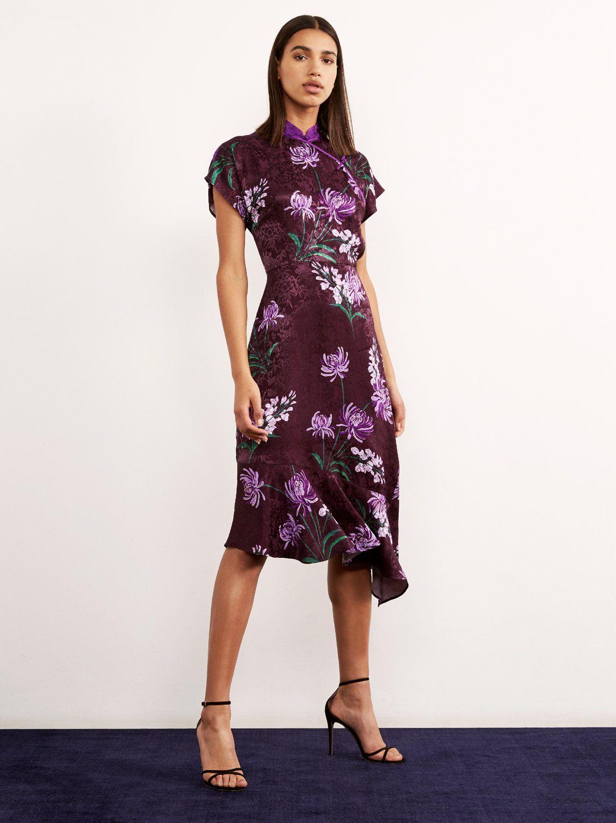 Valerie Purple Vintage Asymmetric Dress | Women's Vintage Dresses | KITRI