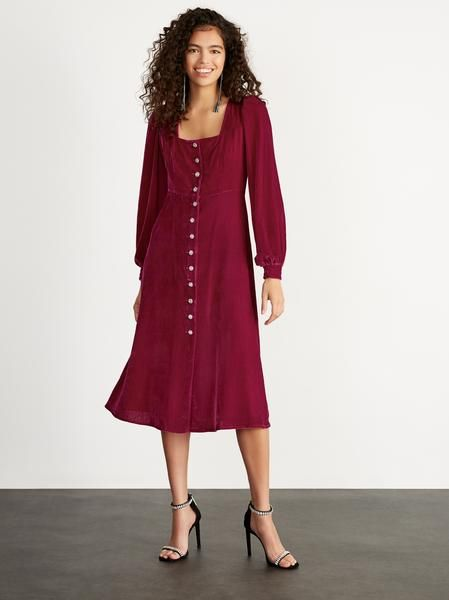 clara ruby velvet midi dress womens velvet midi party dresses kitri