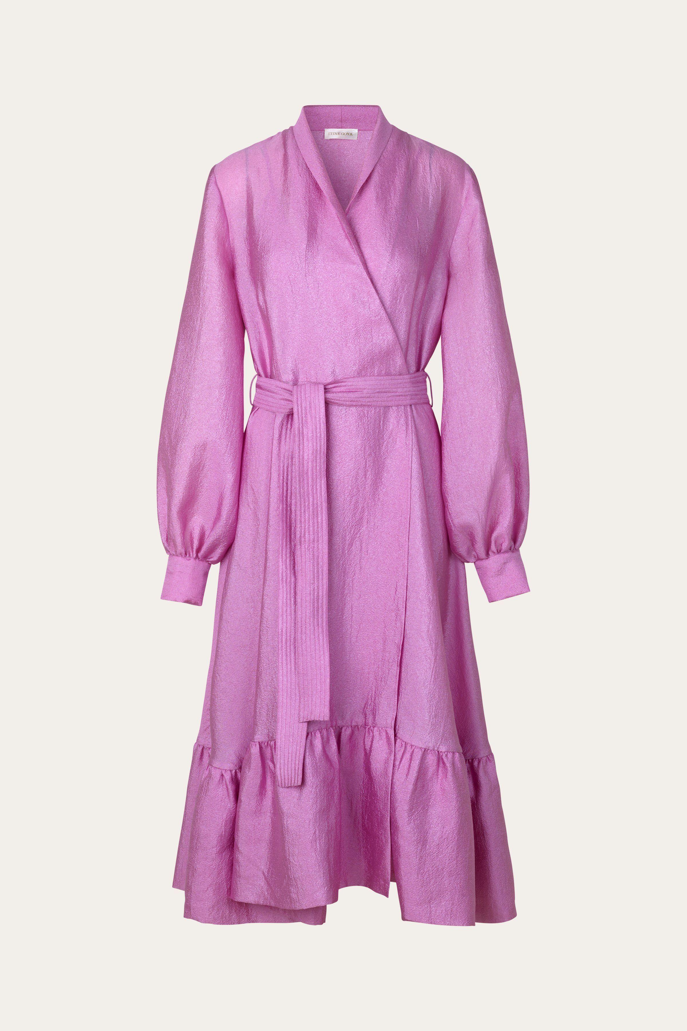 niki wrap dress shimmering pink