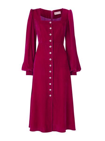 clara ruby velvet midi dress womens velvet midi party dresses kitri