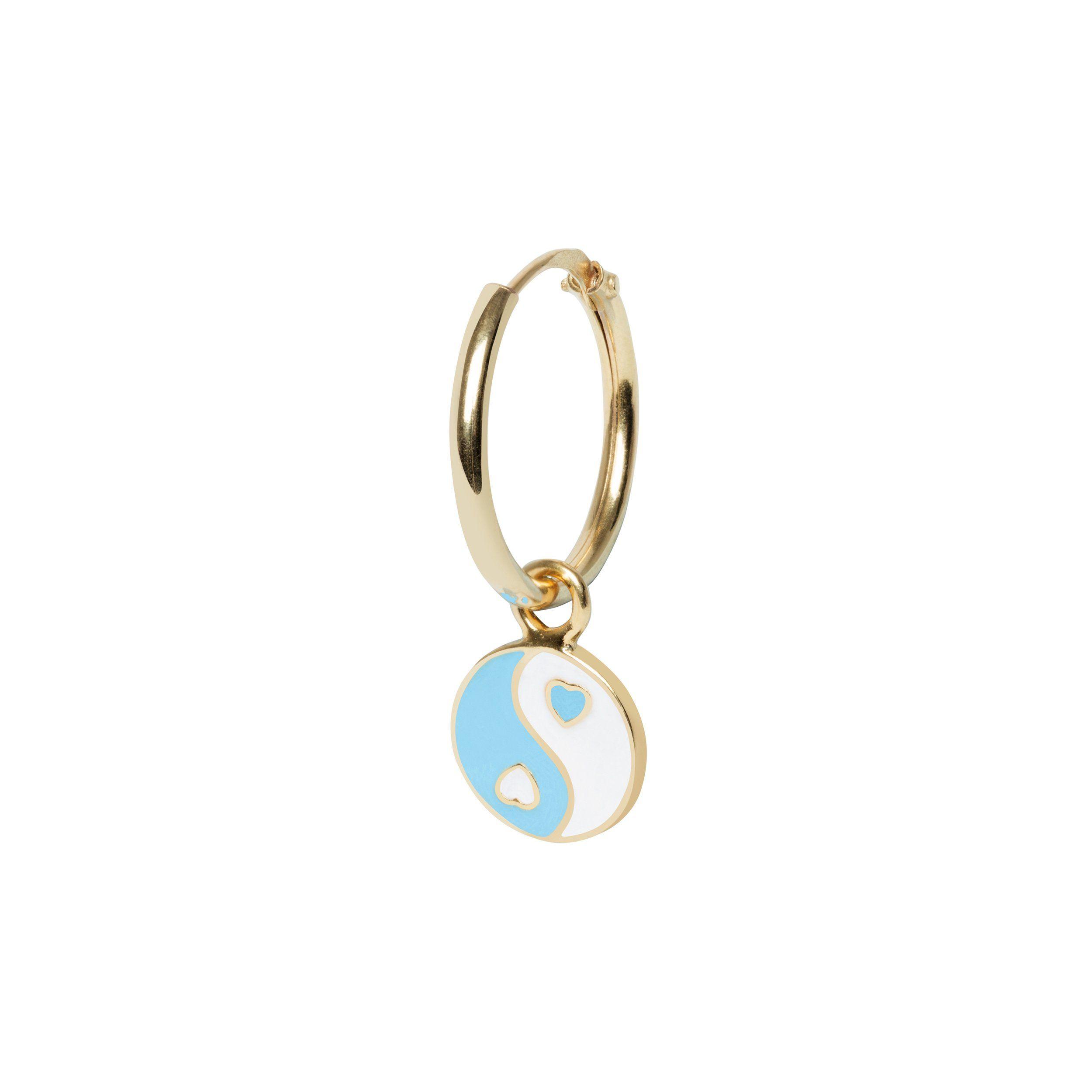 gold yinyang blue earring