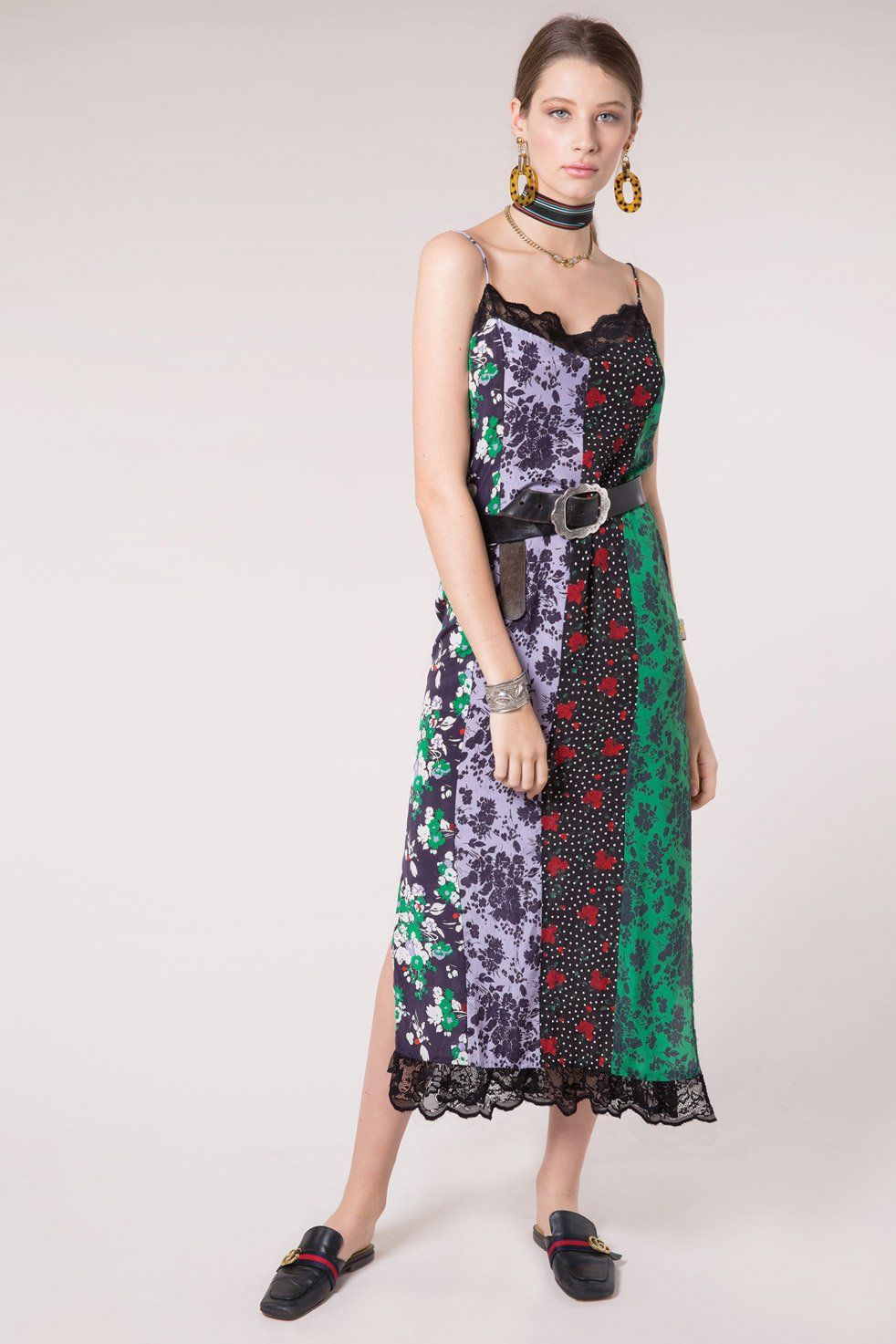 Naomi - Abstract Florals Silk Midi Cami Dress - RIXO ⋆