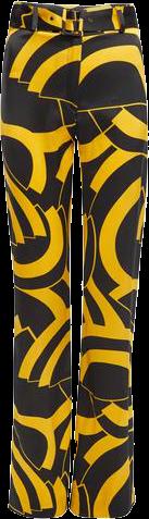uma satin black and gold disc print trousers