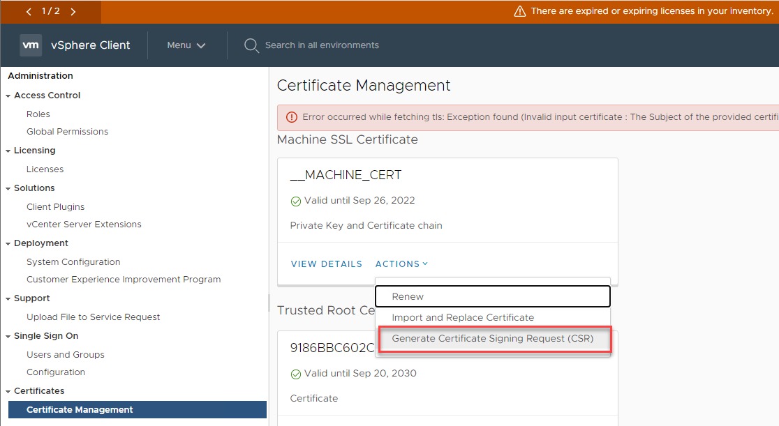 Replace vCenter 7.x Self-Signed Certificate