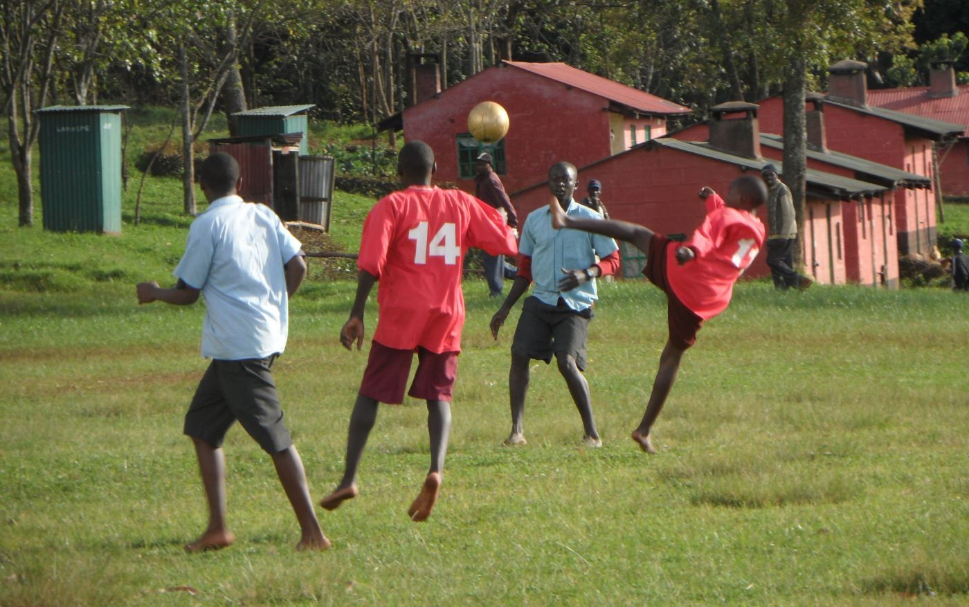 Playing football - Kenya gap year program