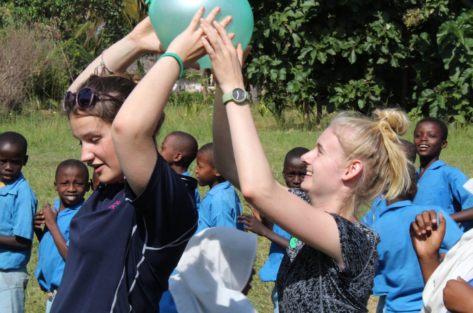Georgie Spens doing PE on work experience in Kenya 2016