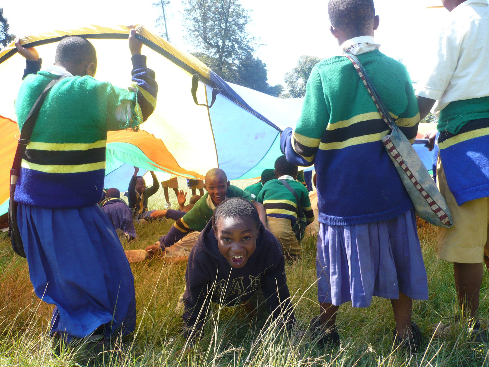 Tanzanian children and AV volunteers - Gap Year Tanzania