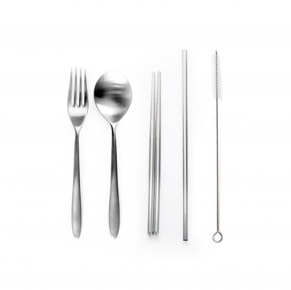 Stainless Steel 5pcs Cutlery set w Straw Household Products Drinkwares Others Household Metals & Hardwares Other Metal & Hardwares NATIONAL DAY Back To School HKC1007_HD2