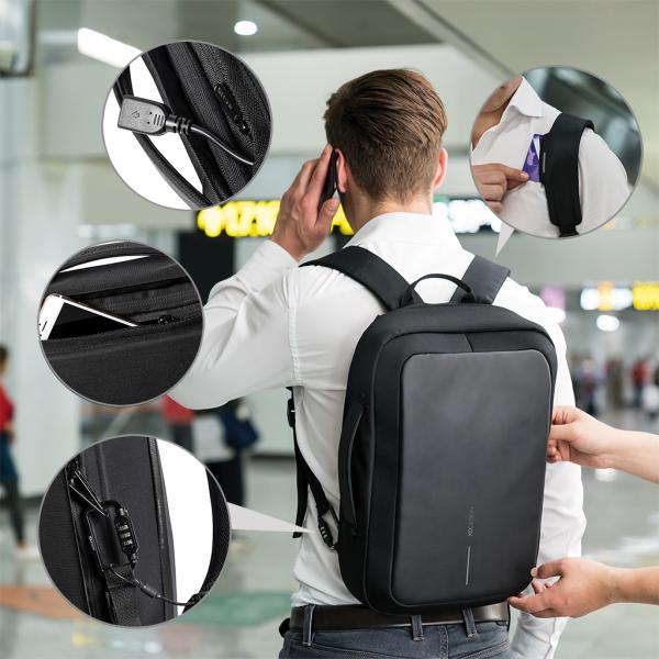 Bobby Bizz Anti-Theft Backpack & Briefcase with strap Computer Bag / Document Bag Haversack Travel Bag / Trolley Case Bags Crowdfunded Gifts THB1122HD_5