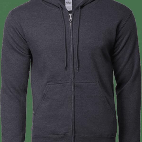 88600 Gildan Full Zip Hooded Sweatshirt Apparel DarkHeather