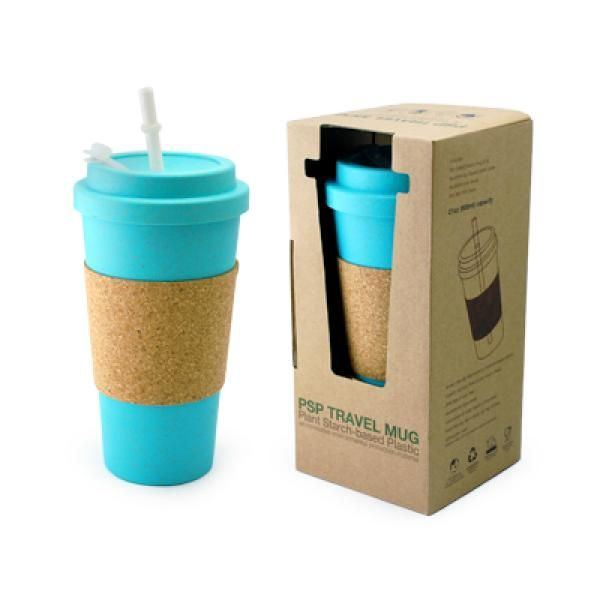 PSP Ice Beverage Travel Mug With Cork Sleeve & Straw Household Products Drinkwares Best Deals CLEARANCE SALE UMG1502Blu