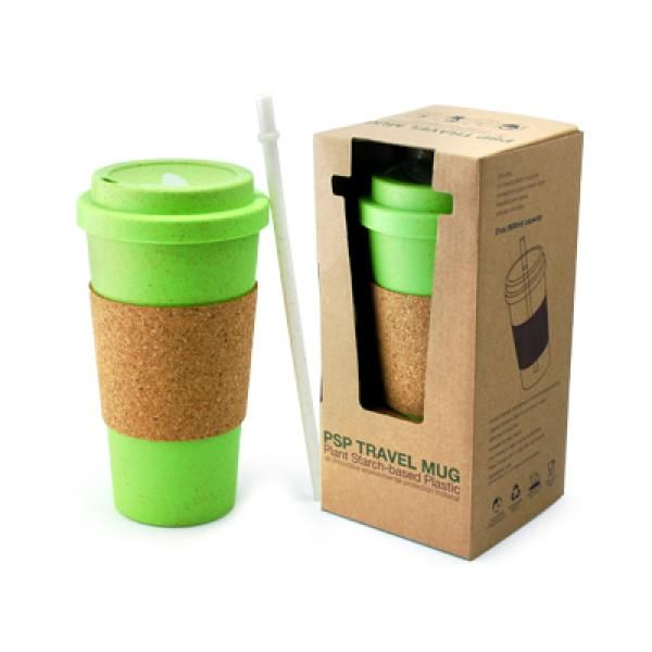 PSP Ice Beverage Travel Mug With Cork Sleeve & Straw Household Products Drinkwares Best Deals CLEARANCE SALE UMG1502Grn