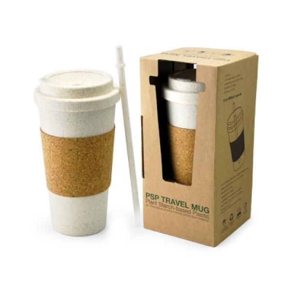 PSP Ice Beverage Travel Mug With Cork Sleeve & Straw Household Products Drinkwares Best Deals CLEARANCE SALE UMG1502Wht
