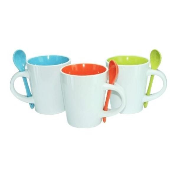 Dual Color Ceramic Mug Spoon Household Products Drinkwares Largeprod454