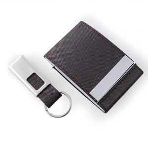 Voyaran Double Side Name Card Holder with Keychain Small Leather Goods Leather Gifts Set Best Deals Largeprod1118