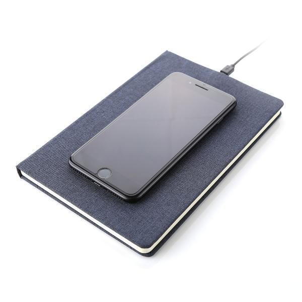 Mendoza Notebook with Wireless Charger Electronics & Technology Other Electronics & Technology Other Leather Related Products Notebooks / Notepads LFO1012HDBlueFunction2
