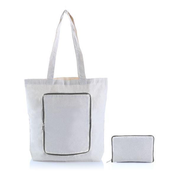 Foldable Zipper Tote Bag Tote Bag / Non-Woven Bag Bags RACIAL HARMONY DAY TNW1040_GreyHD