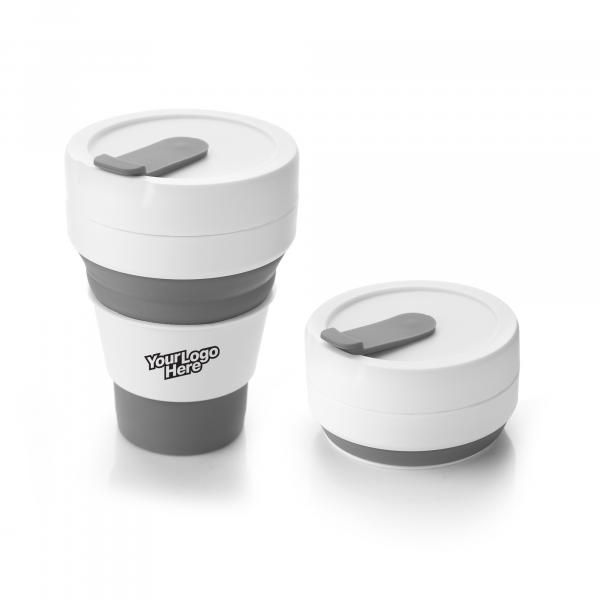 Collapsible Coffee Mug Household Products Drinkwares HDC1036HD_Grey_Logo