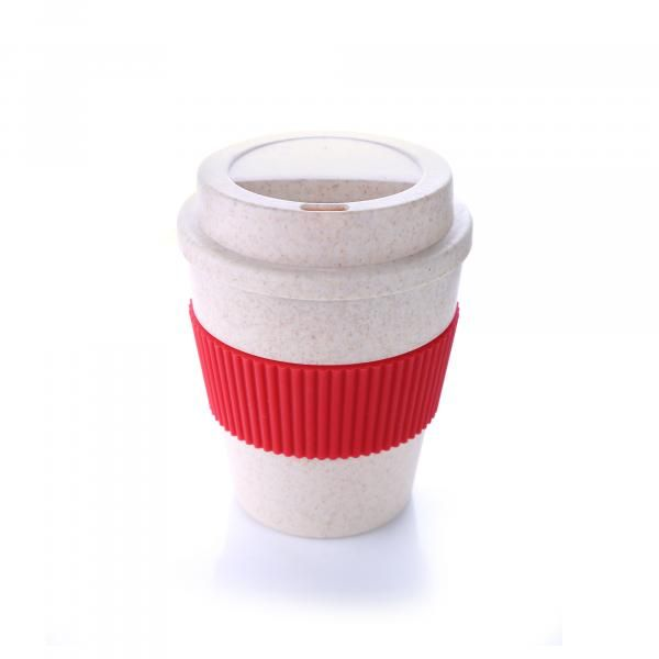 Bamboo Fibre Coffee Mug With Colour Sleeve Household Products Drinkwares HDC1037HD_Red