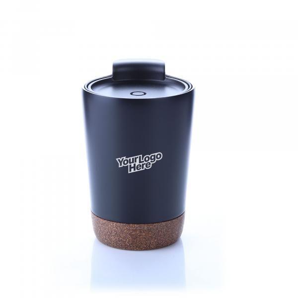 Vacuum SS Mug With Cork Base Household Products Drinkwares HDC1038HD_Blk_Logo