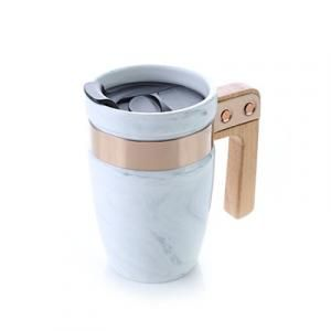 Marble Ceramic Mug With SS Rim Wooden Handle Household Products Drinkwares HDC1035Thumb1