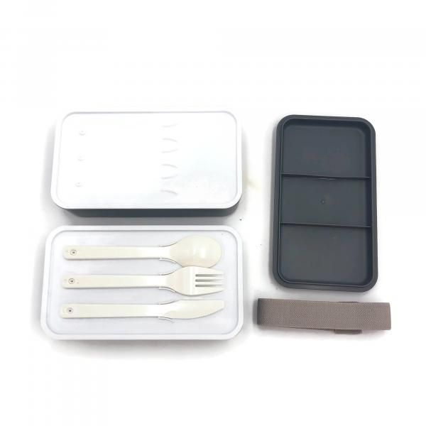 Rubber Tied Double Layer Lunch Box with Cutlery Set Household Products Kitchenwares Back To School IMG_1562