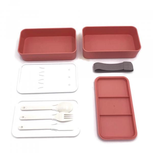 Rubber Tied Double Layer Lunch Box with Cutlery Set Household Products Kitchenwares Back To School IMG_1569