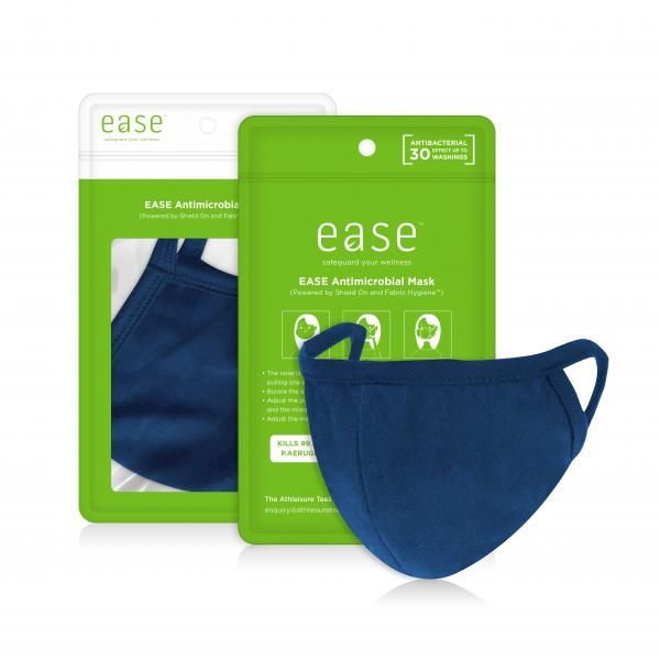 EASE Antimicrobial Reusable Face Mask Retail Pack Personal Care Products EaseAntimicrobialMaskwithpackaging_Blue