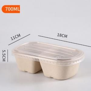 700ml 2 Compartment Bento Box with PP lid Food & Catering Packaging FTF1002
