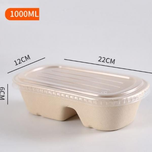 700ml 2 Compartment Bento Box with PP lid Food & Catering Packaging FTF1003