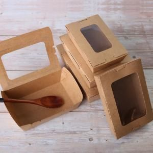 900ml Kraft Paper Bento Box Attached Lid Food & Catering Packaging FTF1025